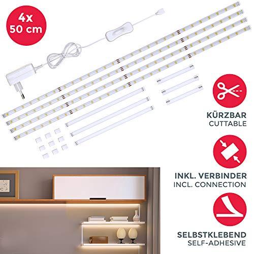 Striscia LED 2m, set di 4 pezzi da 50cm, Luce bianca naturale 4000k, Include connettori,...