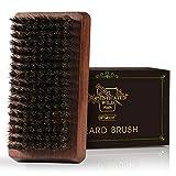 BFWood Cepillo para la Barba de Cerdas de Jabalí - Mango de madera de nogal negro, ideal para el...