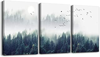 3 Piece Canvas Wall Art for Living Room – Misty Forests of Evergreen Coniferous..