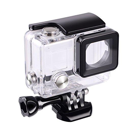 Flycoo Custodia Impermeabile Con Obiettivo per GoPro Hero 3 + Hero 4 Fotocamera di Azione Con vite di Fissaggio e Base Protezione Subacquea 45 M