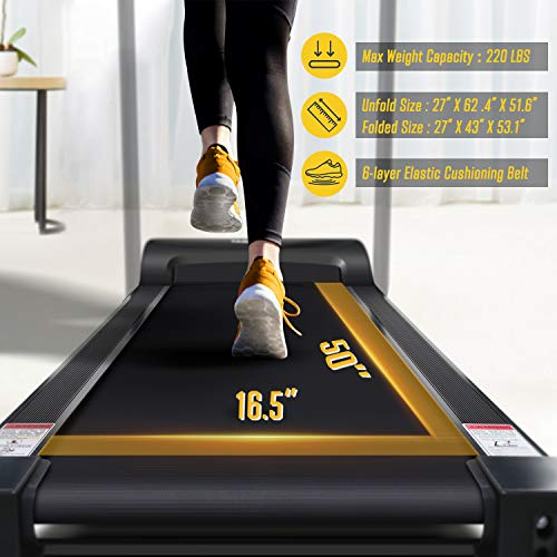 OMA Home Treadmills, Max 2.25 HP Folding Incline Treadmills for Running and Walking Exercise with LED Display of Tracking Heart Rate, Calories - Black 7