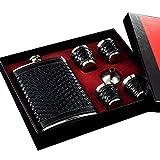 Gennissy Flasque en acier inoxydable 18/8 226,8 gram Bouteille - Cuir Marron avec 3 tasses et entonnoir 100% étanche, Acier inoxydable, Black Woven Leather, 8 OZ