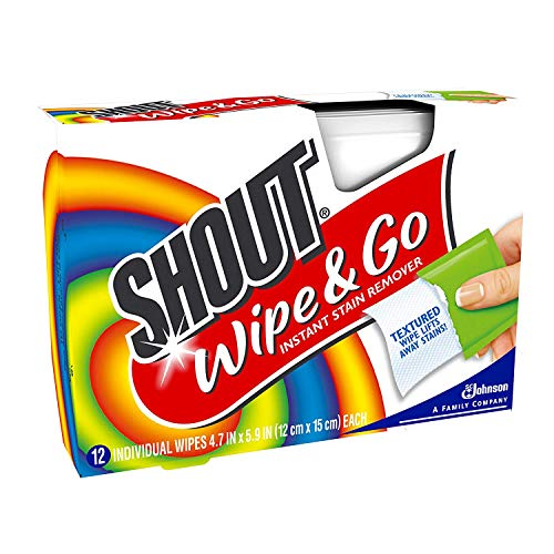 Shout Wipes - Portable Stain Treater Towelettes Pack of 2, 24 Wipes Count, Multicolor