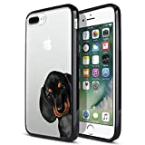 FINCIBO Case Compatible with Apple iPhone 7 Plus / 8 Plus, Slim TPU Bumper Clear Hard Protective Case Cover for iPhone 7 Plus / 8 Plus (NOT FIT iPhone 7/8) - Dachshund Puppy Dog Hide and Seek