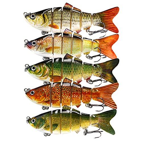 DOUBFIVSY Esche Artificiali Spinning 3.9 Esche da Pesca Esca di Pesce a pi Sezioni Dura con 2 Ganci, Esche Finta Pesca Realistico Esche Swimbait per Lucci, Persici, Trote, Spigola (5PCS)