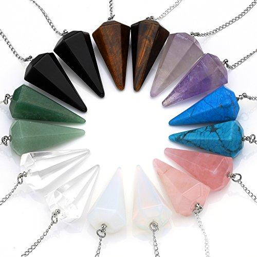 JS Direct - Collares de piedras sanadoras reiki naturales: amatista, cuarzo rosa, opalita