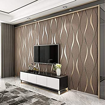 3d Vintage Brown Wallpapers Soft Touch Geometric Stripes Wallpaper For Living Room Feature Wall 53 X 1000 Cm Amazon Co Uk Diy Tools