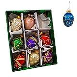 Kurt Adler Glass Decorative Egg Ornament, 45mm, Set of 9