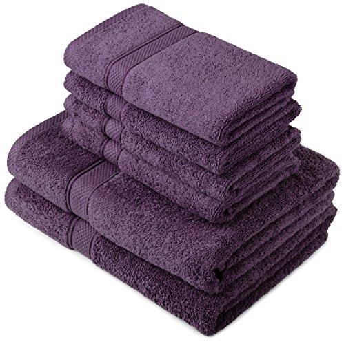 Pinzon by Amazon - Juego de toallas de algodón egipcio (2 toallas de baño y 4 toallas de manos), color morado