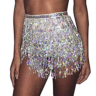 Belly Hip Skirt with shinning sequins decorated, free style waistband and easy to adjustable. Sequins hip scarf is free size and suitable for every women and girls.The waist length approx 185cm.Available in silver,black,red,blue color and so on. Glit...