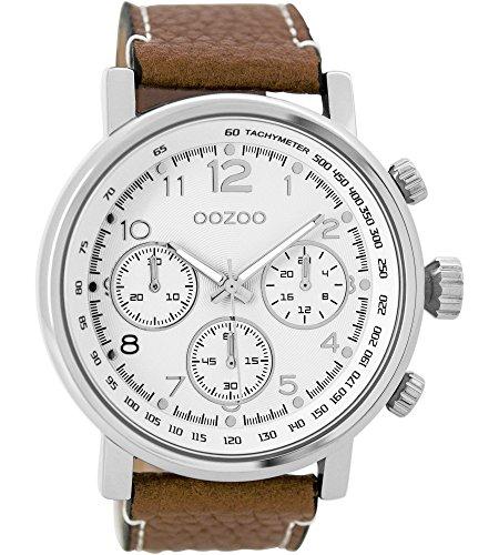 Oozoo Herrenuhr mit Lederband 48 MM Weiss/Braun C9455