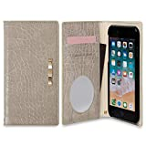 iPhone 12 Pro ケース 手帳型 マグネットなし クロコ ゴールド リボン ミラー付き ベルトなし ……