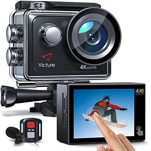 Victure AC920 4K 60FPS 20MP Wi-Fi Action Camera (Sports Camera con Touch Screen con Zoom 8X, Doppio Microfono, Telecomando, EIS Avanzato, Modalità Subacquea da 40M, Batterie 2x1350mAh)