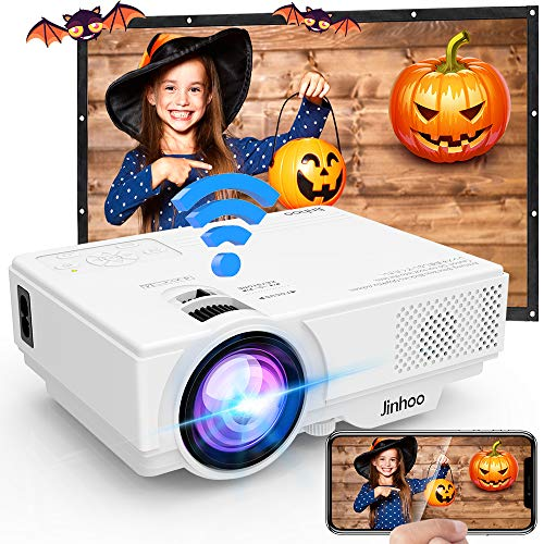 [WiFi Beamer] Jinhoo 720P Native HD Wireless Beamer Unterstützt 1080P FHD, Mini WiFi Projektor Kompatibel mit Smartphone Tablet TV Stick Spielekonsole HDMI VGA USB TF, Heimkino Projektor Weiß.