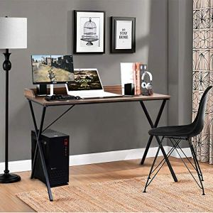 Aingoo – Spacious Writing Computer Desk 47' with Raised Edge Design and Metal Frame, Black CDK-02
