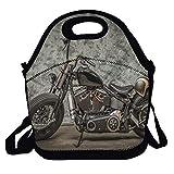Harley Davidson Motorcycle Premium Lunch Bag para Mujeres, Hombres, Adultos | Lunchwith correa para el hombro, forro suave a prueba de fugas | Refrigerador de almuerzo mediano para escuela, trabajo