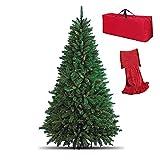 Totò Piccinni Albero di Natale Artificiale NOEL, Folto, Effetto Realistico, Rami a Gancio, Facile Montaggio, PVC, Ignifugo con Borsone (210 cm, Verde)