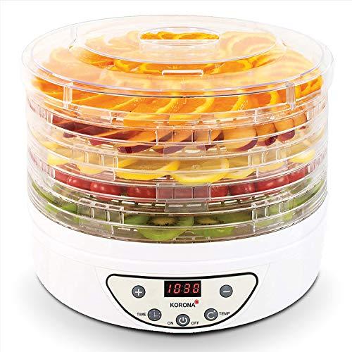 Korona 57010 Dörrautomat mit Timer   Trocknet Früchte, Gemüse, Fleisch, Fisch, Kräuter   35-70°C   5 höhenverstellbare Ebenen   LED Display