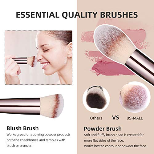 Product Image 2: BS-MALL Makeup Brush Set 18 Pcs Premium Synthetic Foundation Powder Concealers Eye shadows Blush Makeup Brushes Champagne Gold Cosmetic Brushes with Black Case