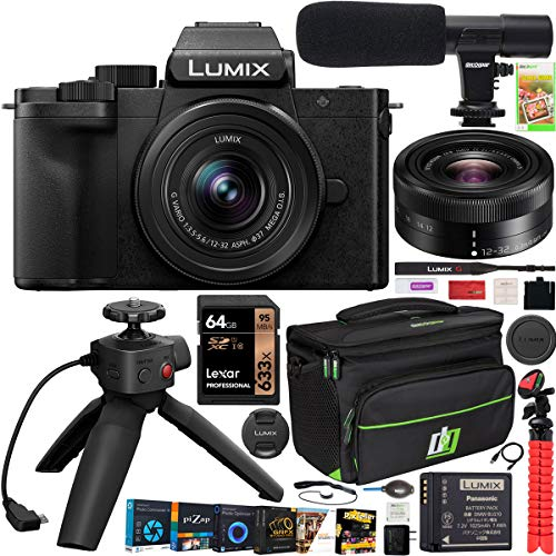 Panasonic DC-G100VK LUMIX G100 Mirrorless Camera 4K Vlogging Kit with 12-32mm Lens + DMW-SHGR1 Tripod Grip Bundle with Deco Gear Case + Microphone + 64GB Card + Photo Video Software Kit & Accessories