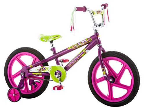 Mongoose Lark Girl's Bicycle with Training Wheels, 18-Inch Wheels, Pink