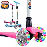 OUTON Scooter for Kids 3 Wheel Kick Scooter for Toddler Girls & Boys, Lean to Steer, 4 Adjustable Height, Light Up Wheels for Children Ages 2-14 (Pink)