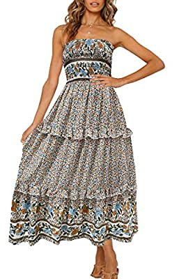 SIZE ATTENTION:S=US 4-6, M=US 8-10,L=US 12-14,XL=US 16 The perfect summertime essential! Boho Maxi Long Dress: Strapless shirred bodice style,Vintage floral print ,Subtle ruffle trimming throughout,Flowy tiered ruffle skirt,Shirred and stretchy waist...