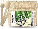 BAMBOODLERS Ensemble de couverts jetables en bois | 100%...