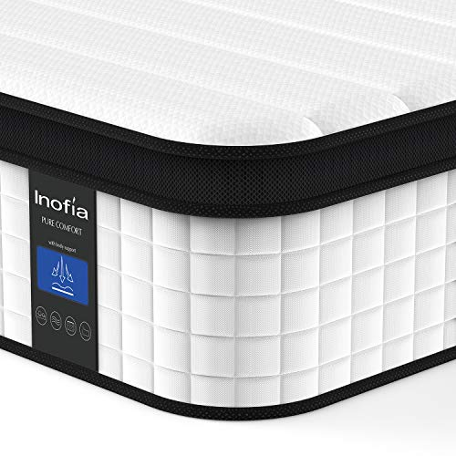 Inofia Queen Mattress, 12 Inch Hybrid Innerspring Double Mattress in a Box, Cool Bed with Breathable Soft Knitted Fabric Cover, 101 Risk-Free Nights Trial