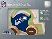 Officially Licensed NFL Product Includes a Seattle Seahawks solid wood push & pull toy with strong and durable wooden wheels which roll smoothly and a 24 inch cotton string Perfect for all ages - Helps promote growth and development 100% Baby Safe ma...