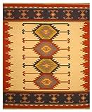 EORC DN1MU Handmade Wool Keysari Kilim Rug, 9' x 12', Ivory