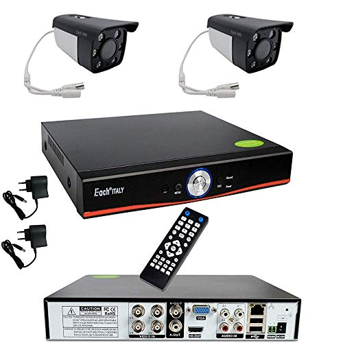Kit Videosorveglianza Esterno, Sistema di Sorveglianza Cloud DVR AHD 4 Canali + 2x Telecamere AHD, Registrazione 24/7, H264, Accesso da remoto