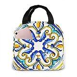 Bolsa de almuerzo reutilizable vintage floral con azulejos de mayólica italiana Bolsa de almuerzo con aislamiento Bolsa de enfriamiento