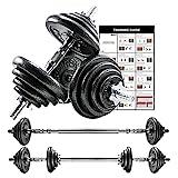 PROIRON Mancuernas ajustables 20kg conjunto con pesas barra y discos, convertido en perfecta haltera para culturismo, aptitud, halterofilia, ejercicios de gimnasio doméstico, banco de pesas