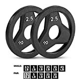 """Day 1 Fitness Cast Iron Olympic 2-Inch Grip Plate for Barbell, 2.5 Pound Set of 2 Plates Iron Grip Plates for Weightlifting, Crossfit - 2"""" Weight Plate for Bodybuilding"""