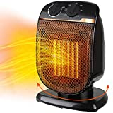 Electric Patio Heater Portable - Oscillating Ceramic Outdoor Heater with Adjustable Thermostat, Overheat Protection, For Personal Indoor Garage Office Desk Space Heaters