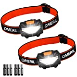 Torche Frontale(2 pcs), OMERIL Lampe Frontale Puissante LED 140 LM, 3 Modes...