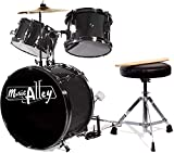 Music Alley 3 Piece Kids Drum Set with Throne, Cymbal, Pedal & Drumsticks, Metallic Black, (DBJK02-BK)