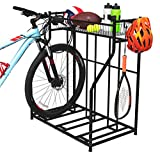 BirdRock Home 3 Bike Stand Rack with Storage – Metal Floor Bicycle Nook – Great for Parking Road, Mountain, Hybrid or Kids Bikes – Garage Organizer - Helmet - Sports Storage Station - Black