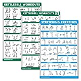 Palace Learning 3 Pack: Kettlebell Workouts Volume 1 & 2 + Stretching Exercises Poster Set - Set of 3 Workout Charts (Laminated, 18' x 27')