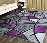 Masada Rugs, Modern Contemporary Area Rug, Purple Grey Black (5 Feet X 7 Feet)
