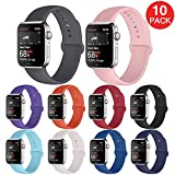 Kaome 10 Pack Compatible with Apple Watch Band 38mm 40mm 44mm 42mm for Women Men,Soft Strap Sport Band for iWatch Series 5, Series 4, Series 3, Series 2, and Series 1