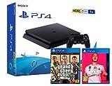 PS4 Slim 1To Console Playstation 4 Noir + FIFA 20 + GTA V Premium Edition...