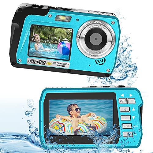 Waterproof Camera Anti-Shake Zoom 18X Digital Waterproof Camera 10FT 4K Full HD 56MP Underwater Camera for Snorkeling (Blue)