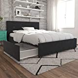 Novogratz Kelly Bed with Storage, Full, Dark Gray Linen