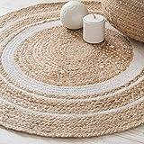 VintFlea Tapis en jute tissé à la main, fibres naturelles, tapis réversible tressé pour chambre à coucher, salon, salle à manger (rond, 16 cm, 70 cm)