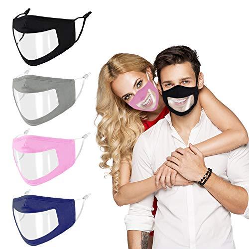 Mascherina_Plastica Trasparente Antipannante Riutilizzabile,Regolabile e Respirabile per Uomo e Donna, Visiera Sordo...
