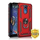 TJS Phone Case for LG K40/K12 Plus/X4/Solo LTE/Harmony 3/Xpression Plus 2, with [Full Coverage Tempered Glass Screen Protector][Impact Resistant][Defender][Metal Ring][Magnetic Support] Armor (Red)