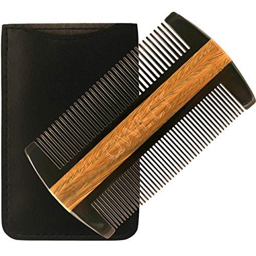 Pettine da barba premium di Qweet - Vero corno di bue e legno di sandalo naturale , Denti affusolati per una pulizia di precisione e antistatica, Custodia in pelle vegana inclusa