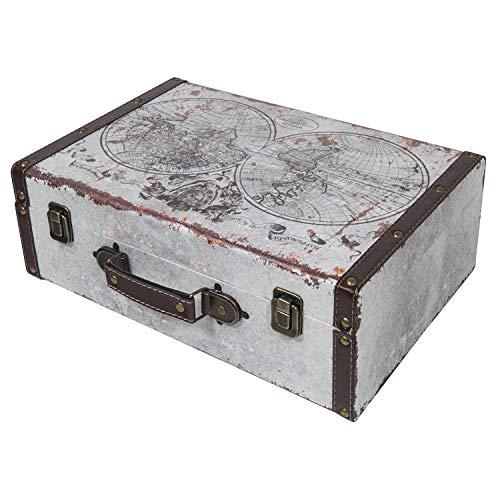 HMF 6430-138 Vintage Koffer aus Holz | 38 x 26 x 13 cm | Groß | Deko Weltkarte